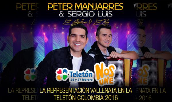 Peter manjarres y Sergio Luis Rodriguez presentes en la teleton 2016