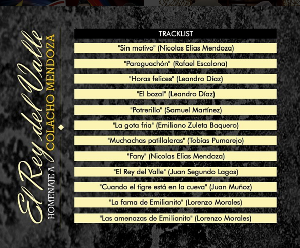 Track list - homenaje a Colacho Mendoza - ivan villazon