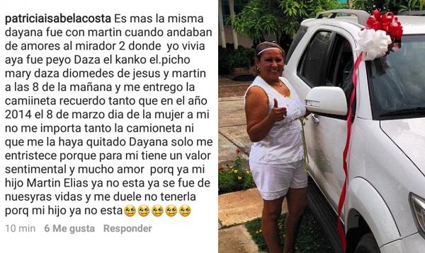 Patricia Acosta acusa a Dayana Jaimes de quitarle la camioneta que Martín Elías le regaló