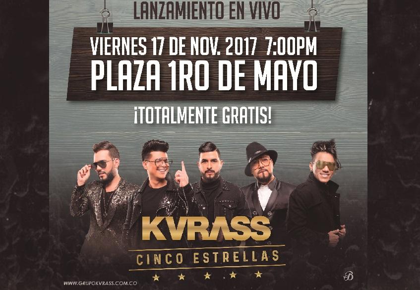 """Este 17 de noviembre es la fecha esperada, Valledupar vivirá en la Plaza del Primero de Mayo una noche """"CINCO ESTRELLAS"""", con el lanzamiento de lo nuevo de KVRASS."""