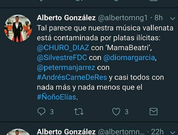 Cantante vallenato Peter Manjarres se enfrenta a Twittero