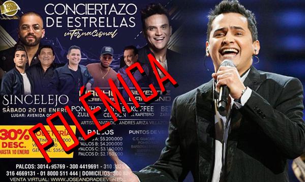 Polémica tras ausencia de Jorge Celedón en concierto en Sincelejo